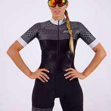Women's triathlon race cycling jumpsuit short-sleeved suit por jersey 9D cushion