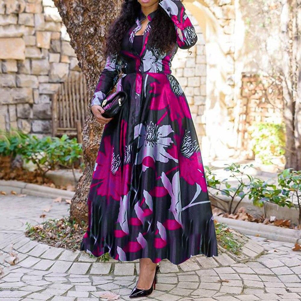 Women Vintage Floral L-S Retro Maxi Elegant Party Dress