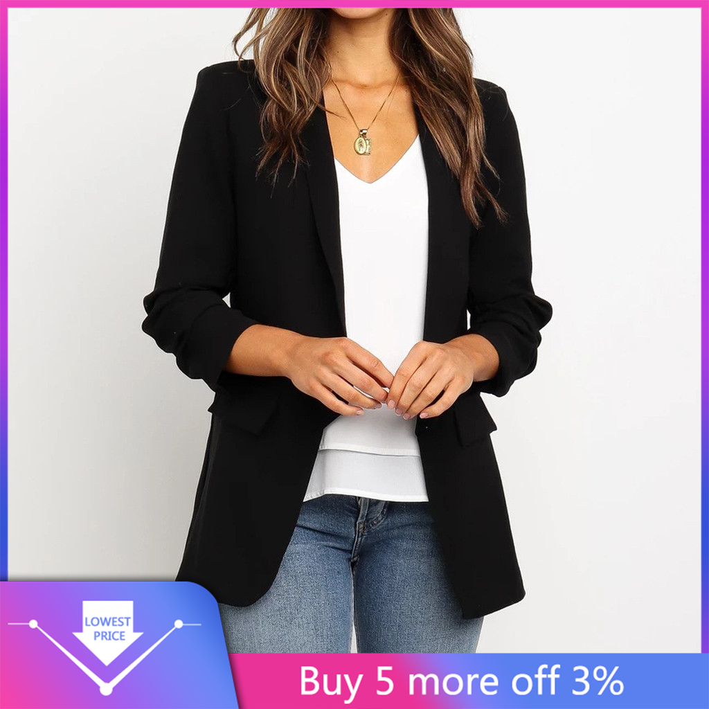 Coolred-Women Office Black Trim-Fit Lapel Blazer Shirt Jacket Skirt Suit