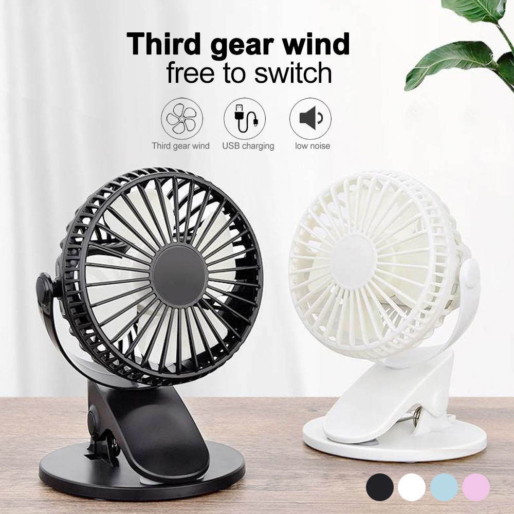 Color : Blue USB Table Desk Personal Fan Mini Fan Rechargeable 2000mAh Battery Student Hostel Office Desktop 3 Speeds Mute Portable Handheld USB Outdoor for Home Office Table