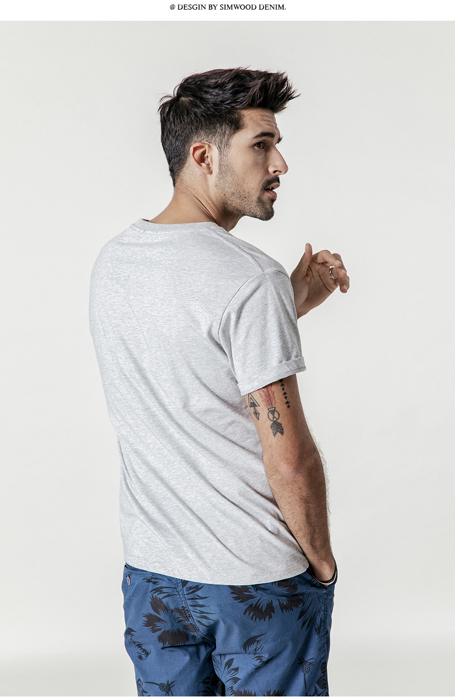 SIMWOOD 19 Summer New T-Shirt Men 100% Cotton Solid Color Casual t shirt Basics O-neck High Quality Plus Size Male Tee 190004 26