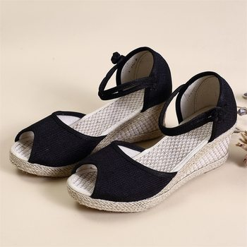 2020 Female Fish Mouth Sandals Wedge Heel Casual Sandals Handmade Linen Braided Buckle Female High Heel Sandals