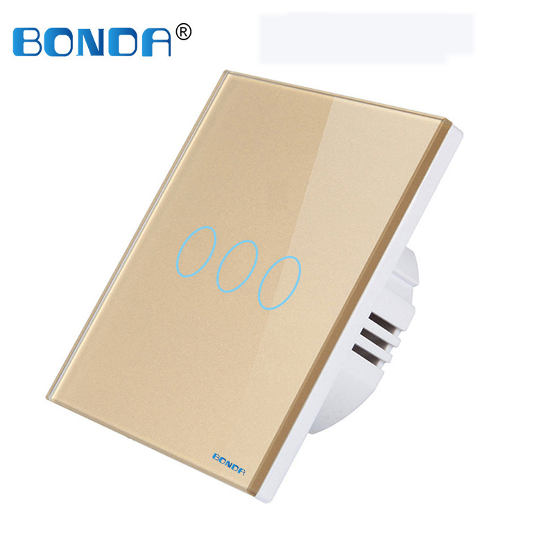BONDA wall switch, EU standard, white crystal, tempered glass panel, touch switch, wall touch screen, Ac220v, 1 way, wall lamp