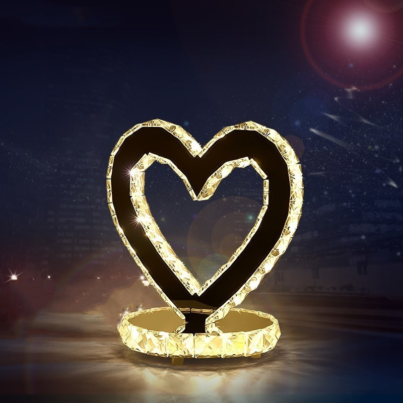 Modern American Table Lamps Bedroom Bed Side Desk Lamp Crystal Luxury Romantic Antique Brass Table Lamp Heart Shape Night Lights