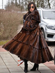 FURSARCAR Fur-Coats Real-Mink Nature Thick Women Luxury New Warm Long for Female Whole-Skin