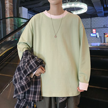 Long Sleeve T-shirts Men Oversize O-neck Casual Solid Long T Shirt Men Spring Autumn Loose Tee Shirt Men Tops Tee(Китай)