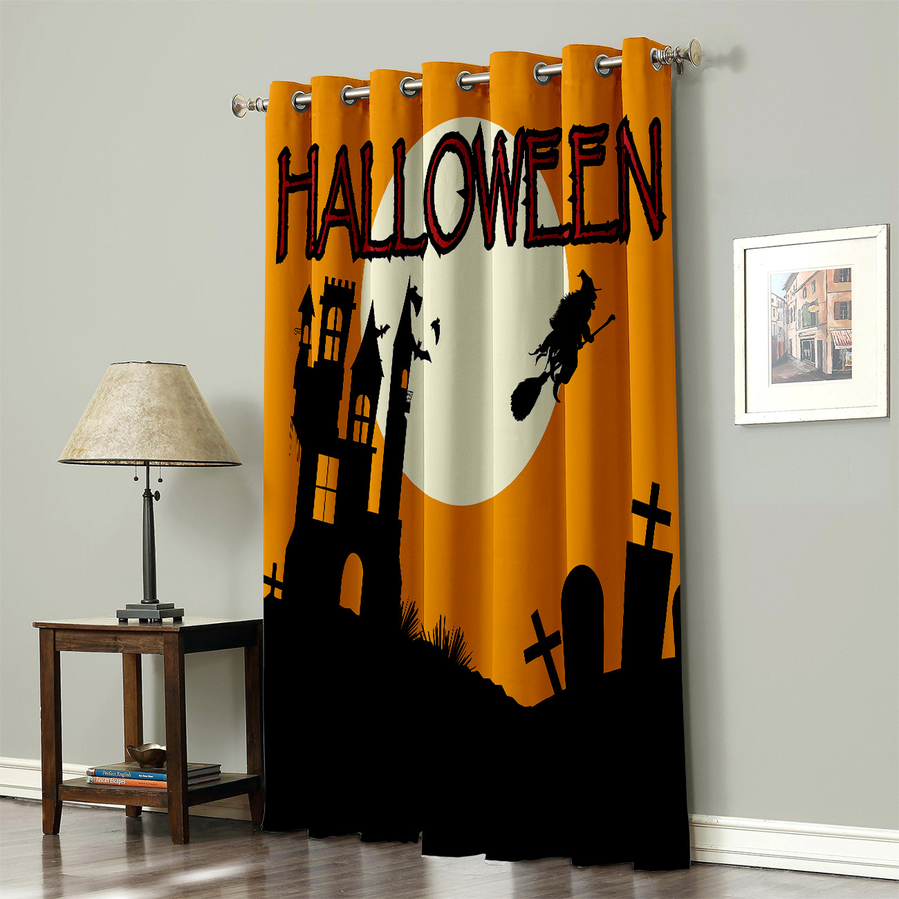 Witch/'S Castle Halloween Style Window Treatments Curtains Valance Room Curtains Large Window Curtain Lights Curtains Indoor Fabr