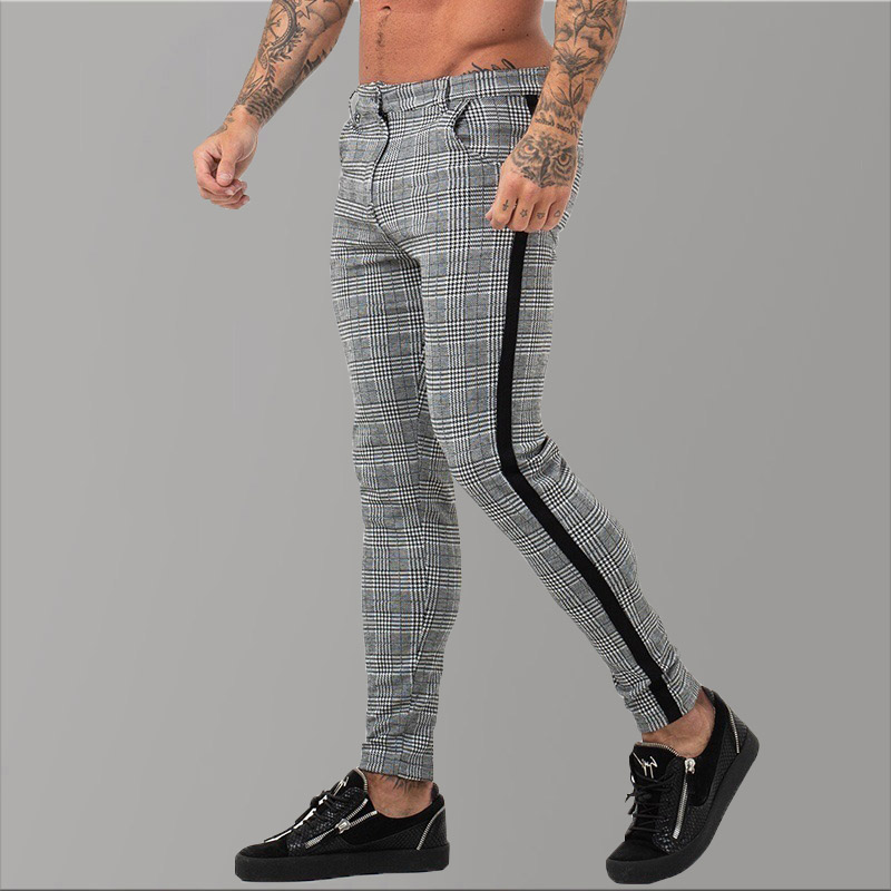 Men/'s Sport Pants Long Trousers Striped Grid Fitness Workout Joggers Gym Casual