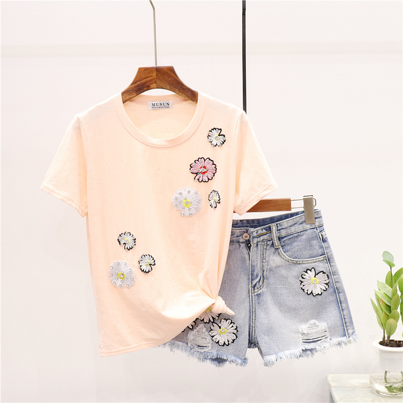2020 Summer T shirt Women Denim Set Fashion Small Daisies O-Neck Loose Tshirt Tops + Shorts Two Piece Set Women Clothing H140