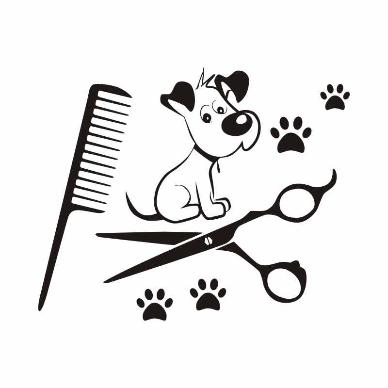 DCTAL Pet Shop Vinyl Wall Decal Pet Grooming Salon Dog Scissors Shop Comb Mural Art Wall Sticker Pet Salon Room Decoration