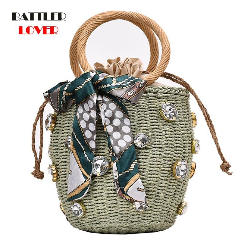 Bag Bohemian Leisure Straw Bag Bucket Knitting Shoulder Crossbody Beads Beach Bag Round Rattan Handmade Diamond Pearl Summer
