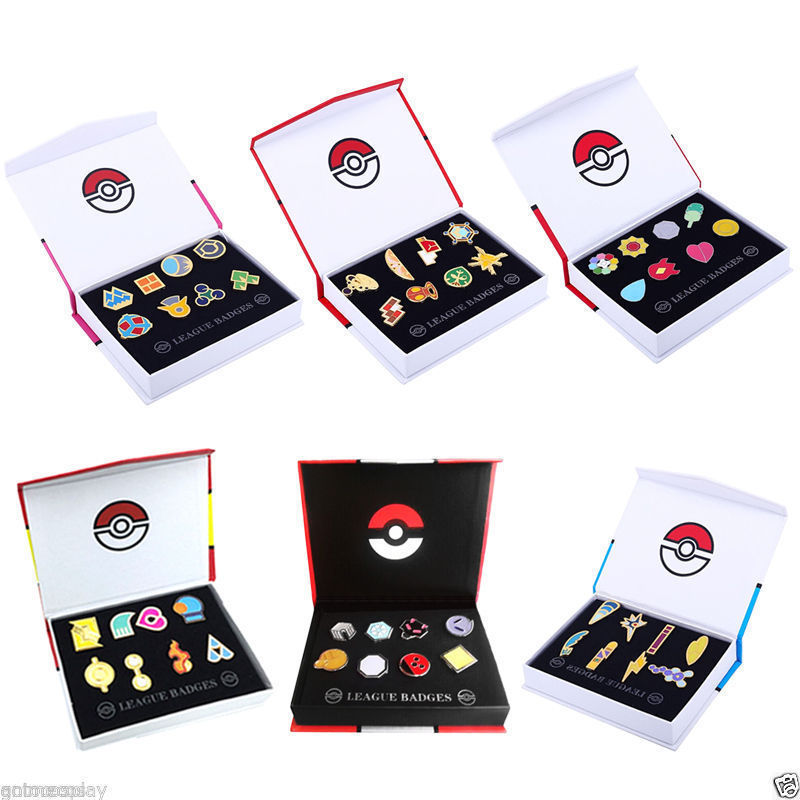 Pokemon Gym Badges Kanto Johto Hoenn Sinnoh Unova Kalos League Region Pins Brooches Orange Islands Box Collection Pocket Monster title=