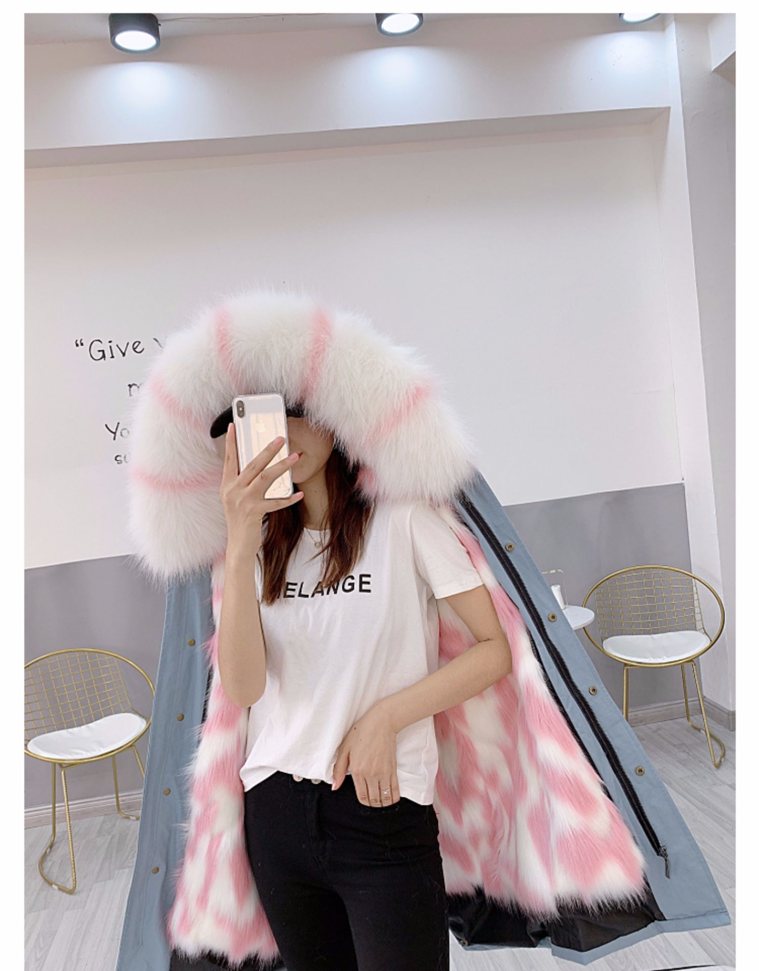 Futro damskie długie Patka kurtka zimowa damskie sztuczne futro odpinany imitacja futra lisa parki z podszewką Mujer 2020 J3612 -