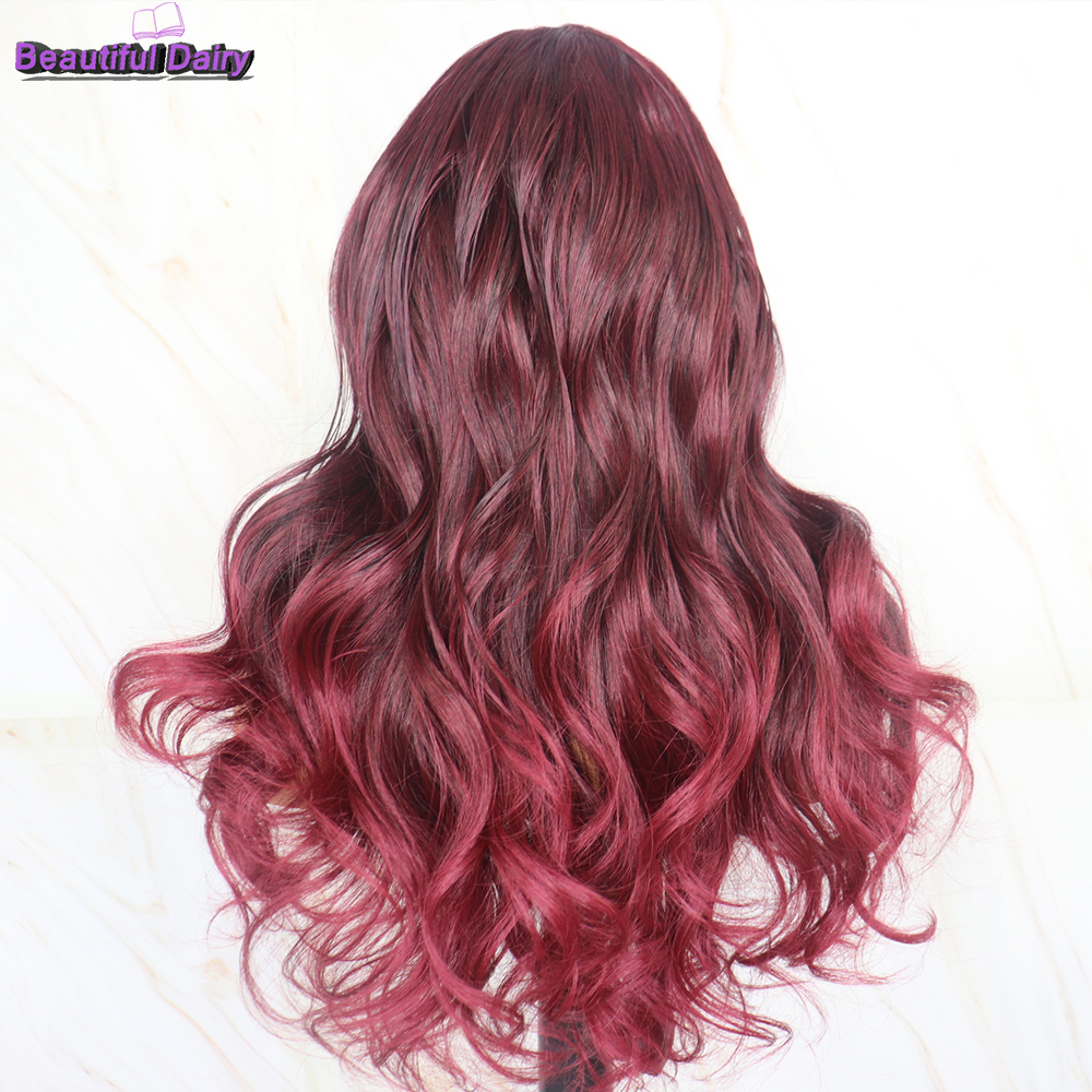 Beautiful Diary 13x6 Purple Color Heat Resistant Synthetic Lace Front Wig Natural Wave Fiber Hair Lace Front Wigs for Women