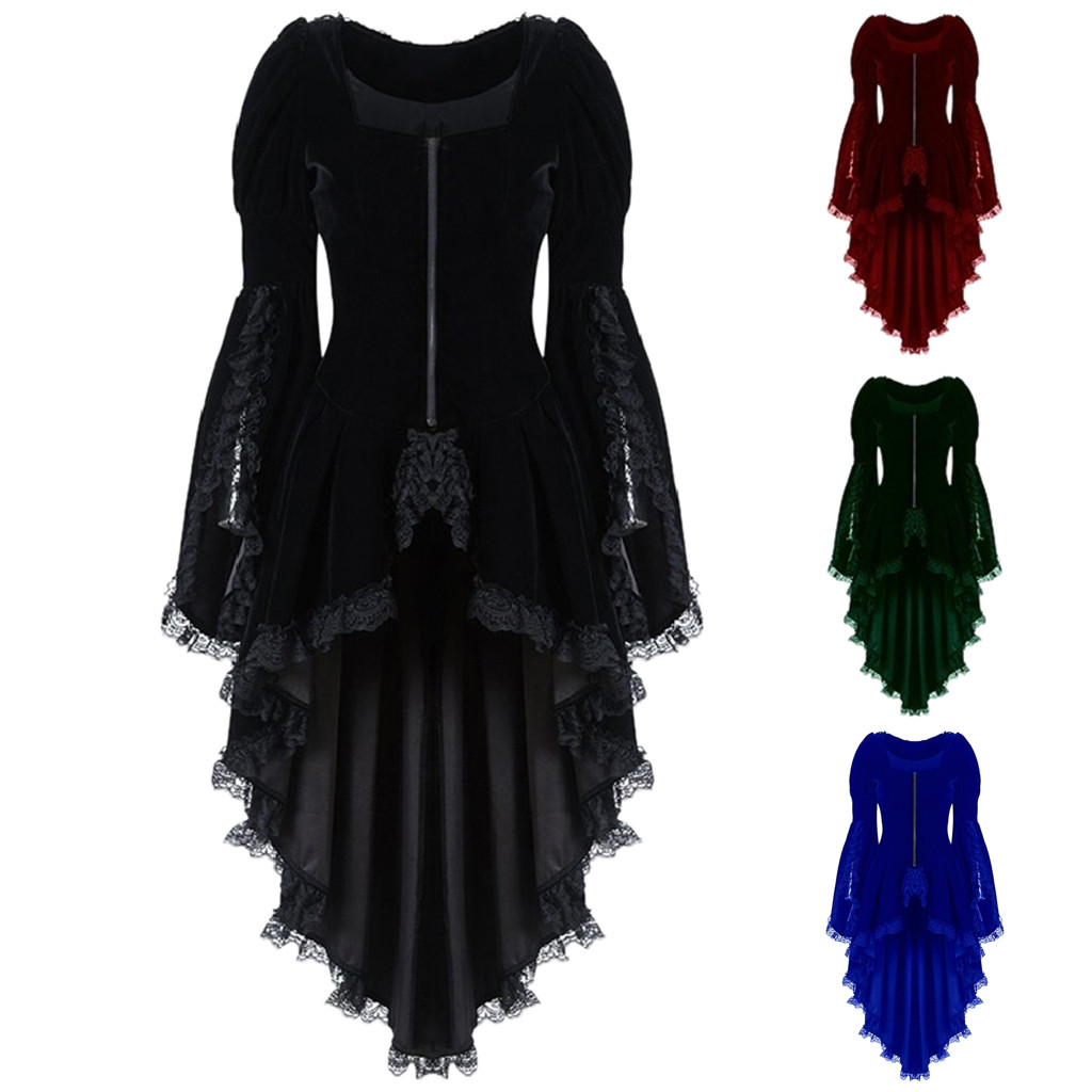Womens Cold Shoulder Butterfly 3//4 Sleeve Lace Up Halloween Long Dress Plus Size