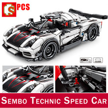 SEMBO BLOCK Supercar Koenigsegged Ageraed Forded Mustanged GT350 строительные блоки Jeeped игрушка Вранглер DIY Technic Car(China)