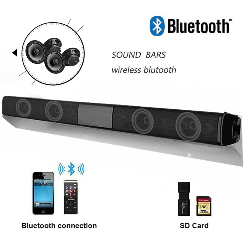 Wireless Bluetooth Soundbar Stereo Speakers Hifi Home Theater TV Sound Bar Surround Sound title=