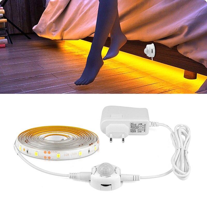 Беспроводная светодиодная подсветка под шкаф с ИК-датчиком движения, Светодиодная лента DC12V для украшения кухни, прикроватной тумбочки, ночник, 1 м, 2 м, 3 м, 4 м, 5 м