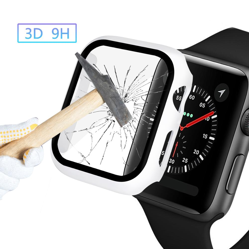 Glass+case For Apple Watch serie 6 5 4 3 SE 44mm 40mm iWatch Case 42mm 38mm bumper Screen Protector+cover apple watch Accessorie