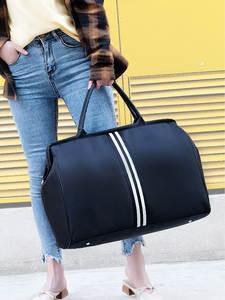 Traveling Bag Handbag Duffle-Bags Light-Luggage Weekend Overnight Foldable Stripe Women