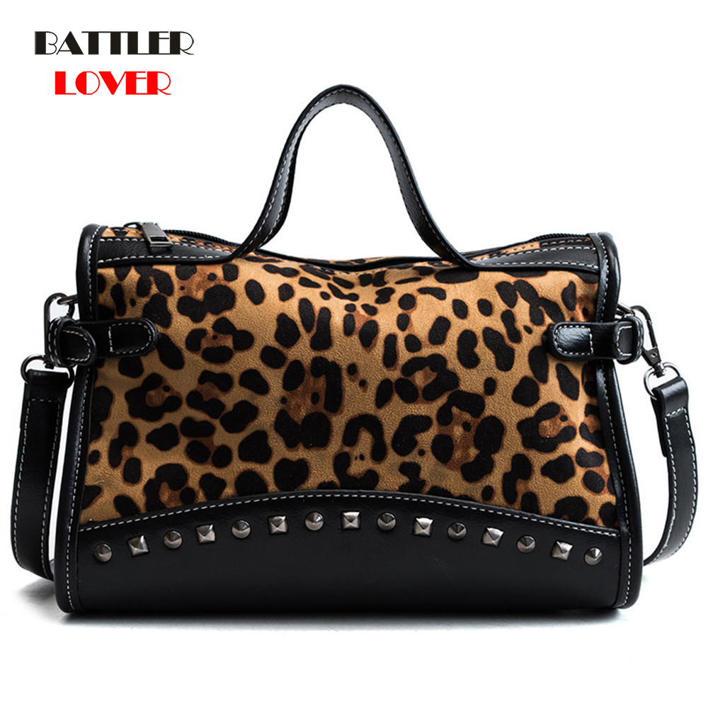 Casual Women Leopard Tote Bags Vintage High Quality Shopping Bag Women
