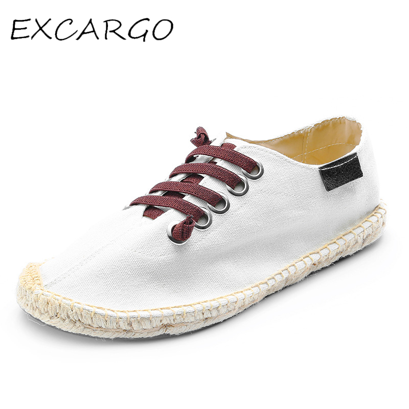 EXCARGO Casual Sneakers For Men Summer Fisherman 2019 Fashion Canvas Casual Shoe Men Breathable Light Shoes Lace Up Rubber Solid