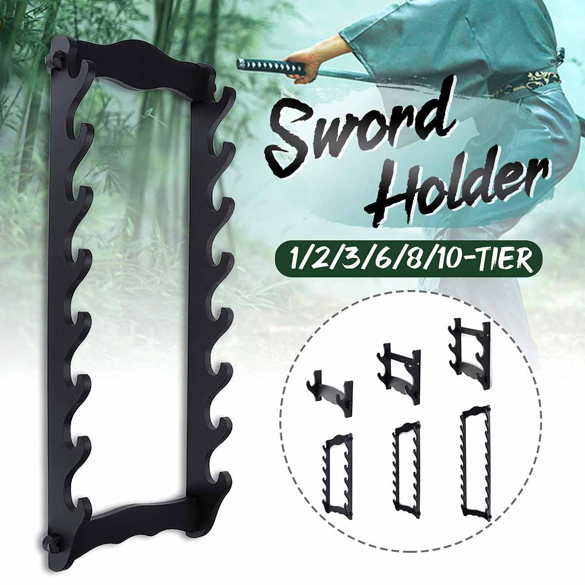 Wooden Bushido 8 Tier Sword Wall Display Stand Japanese Katana Holder