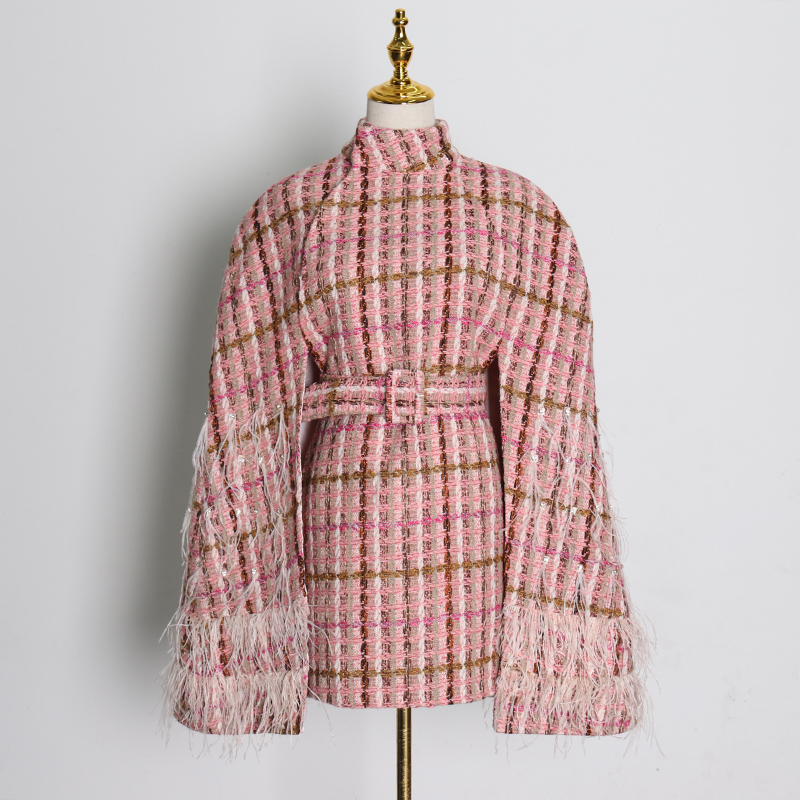 TWOTWINSTYLE Plaid Patchwork Tassel Jacket For Women Turtleneck Long Sleeve High Waist With Sashes Pink Casual Coat Female 2020