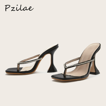 Pzilae 2021 New women slippers summer outdoor shoes high heel slip on flip flop elegant rhinestone women slides sandals black