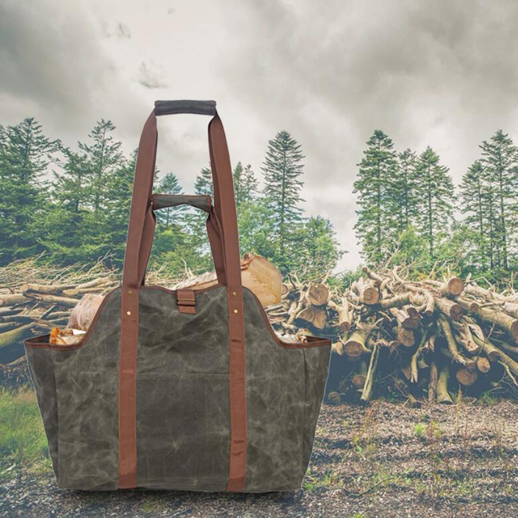 Firewood Log Carrier Waxed Canvas Wood Tote Bag Large Fireplace Fire Wood Log