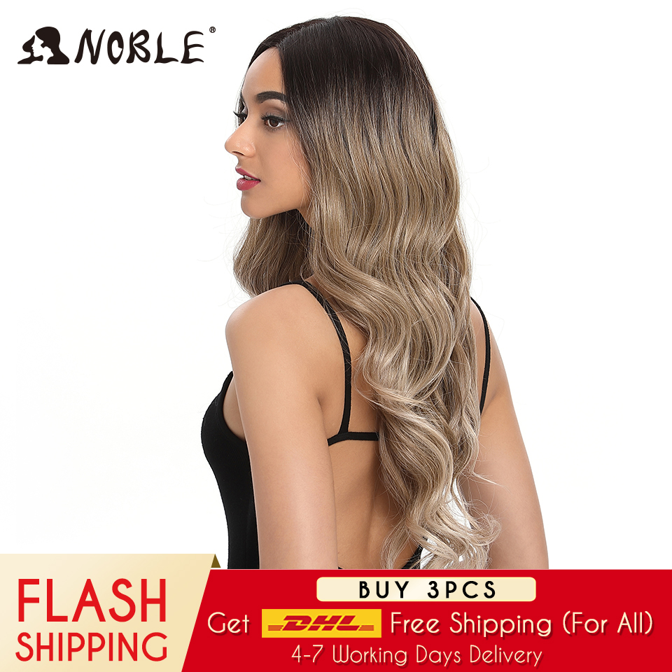Noble Hair Lace Front ombre blonde Wig 30 Inch Lace Long wavy 360 Wig red african american Synthetic Wigs For Black Women title=