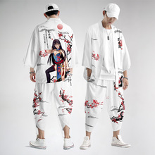 Samurai Clothing Pants Cardigan Yukata Japanese Kimono Streetwear Shirt Haori Male Men