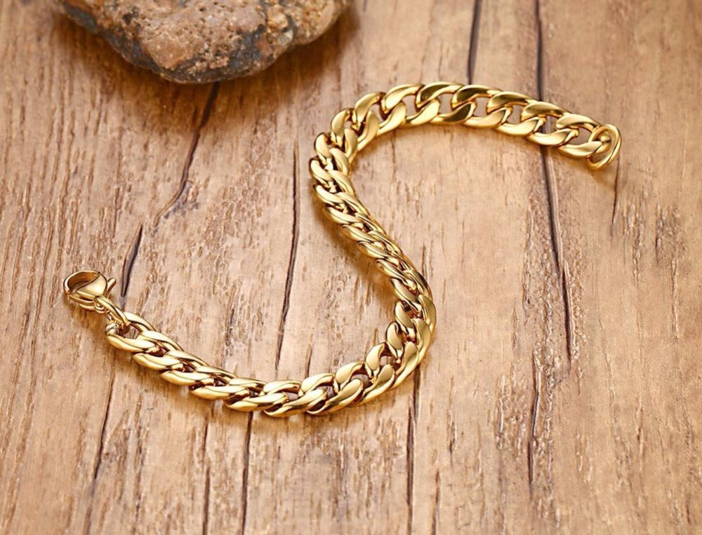 Mens Womens Bracelets in Gold Best Stainless Steel Cuban Curb Link Chain Bracelet Men Fashion Jewerly Accessories Pulseira Masculina 12