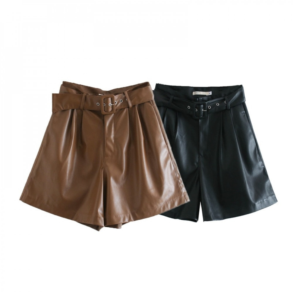 2020 Winter New Women Orange Color PU Bermuda Shorts Faux Leather Belted Shorts