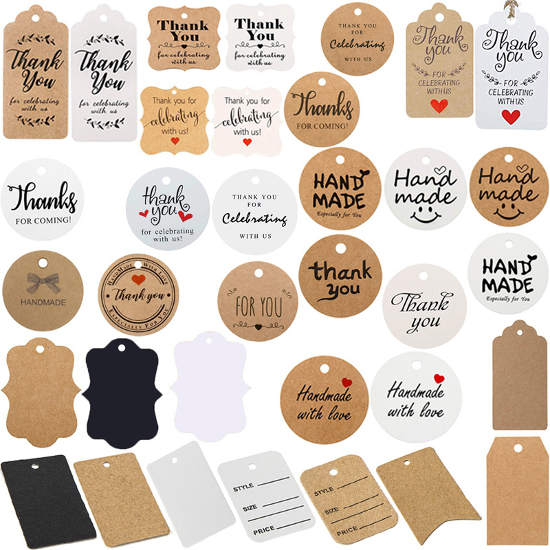 Thank You Tags Celebrating with Us Thanks for Coming Blank Kraft white Black Hangtag Handmade with Love Tags for Gift Card Favor