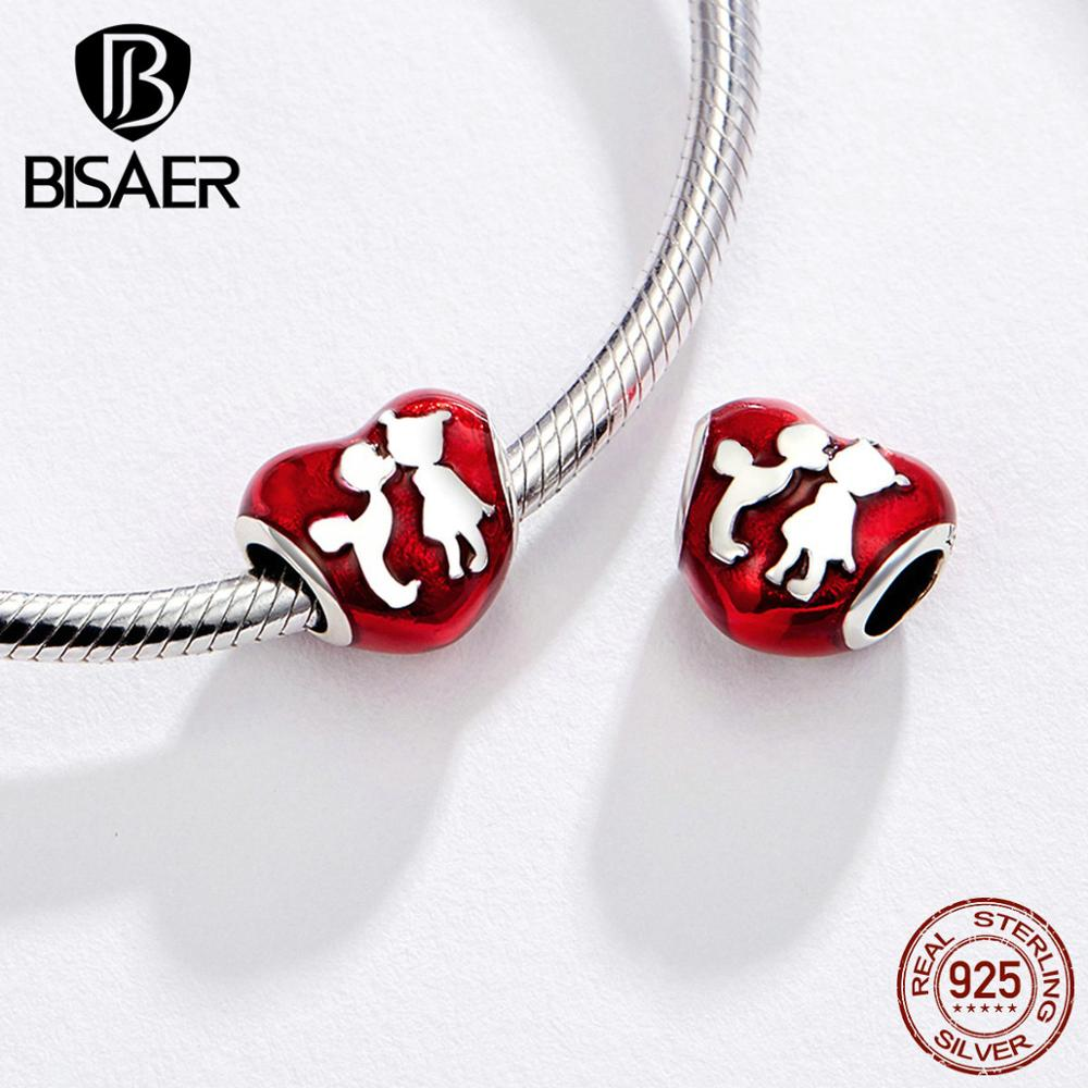 BISAER 925 Sterling Silver Heart Baby  arriage Nipple Love MOM Charm Beads Fit Charms Girls Bracelet Silver 925 Jewelry Making