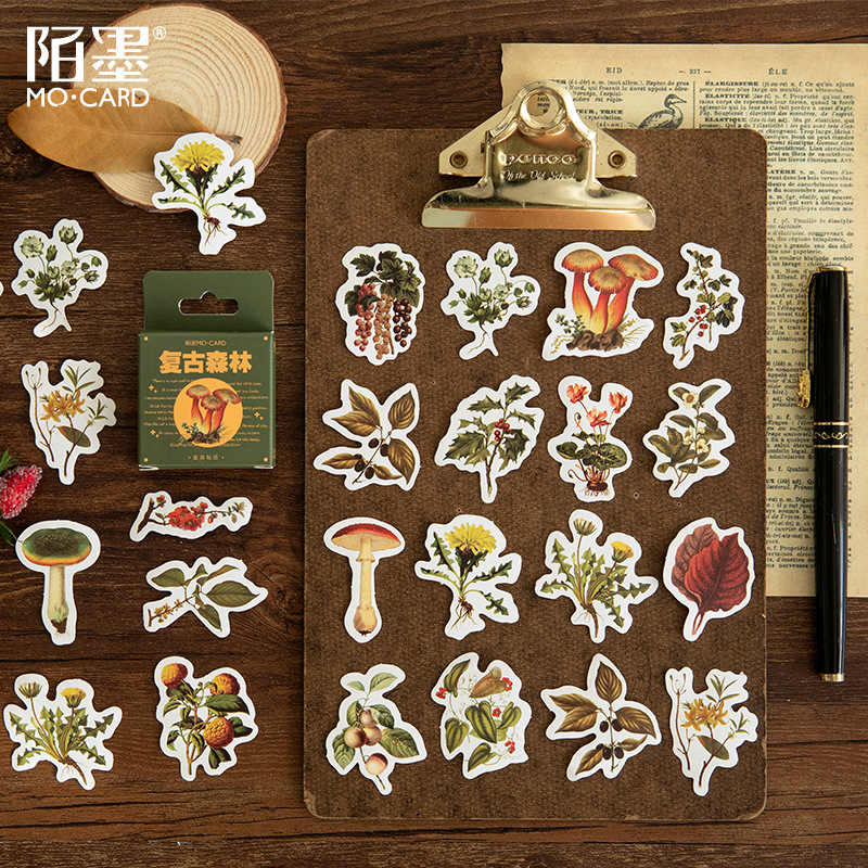 46 pcs/set Vintage Forest Fresh Plants Stickers Scrapbooking DIY Korean Journal Stickers Travel Japanese Stationery Sticker