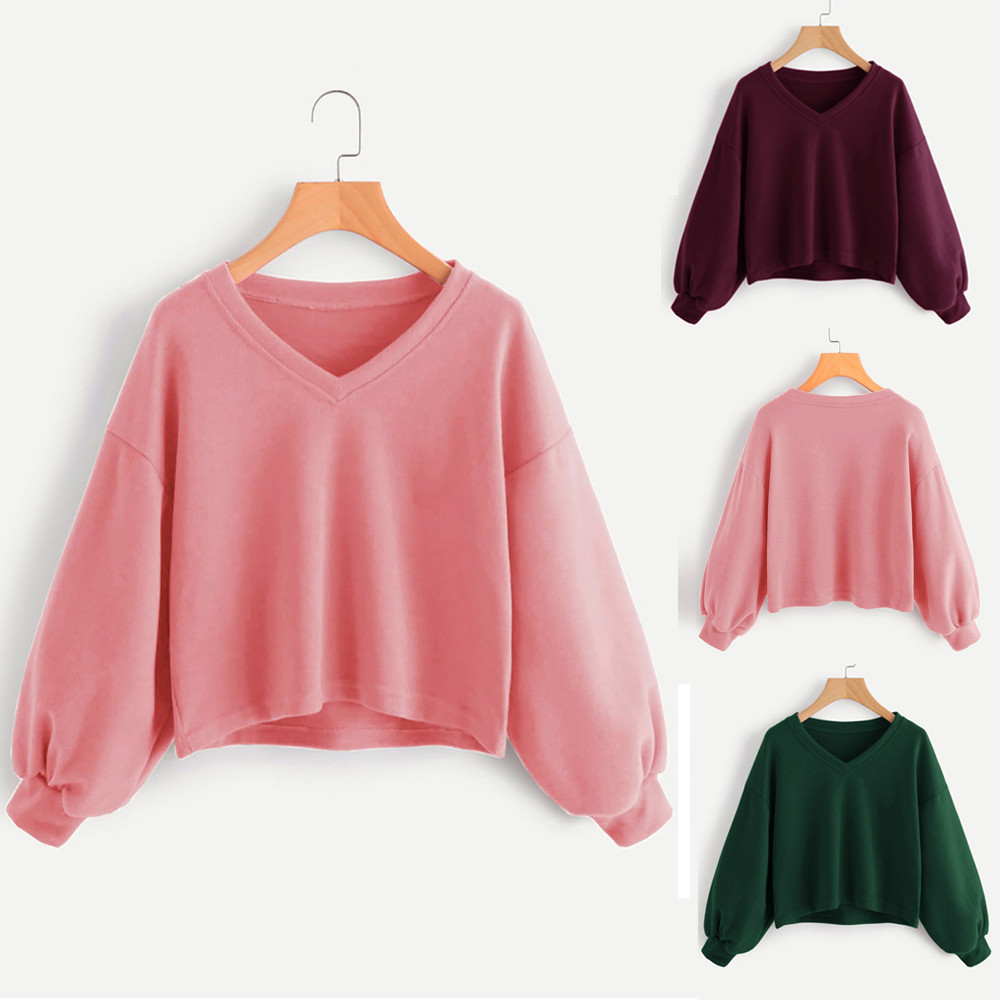 Jaycosin Fashion Women Solid Casual V-neck Lantern Sleeve Sweatshirt Casual Cool Chic New Look Hooded Pullover Tops Blouse