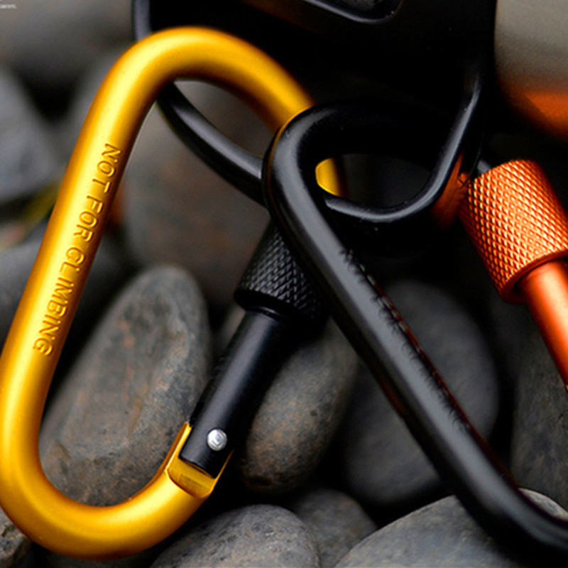 8CM Bold Carabiner Aluminum Alloy Carbine D-Ring Carbines Hanging Buckle Metal Backpack Buckle With Lock (23)