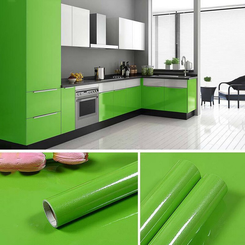 1 PC Glossy Waterproof PVC Cabinet Wallpaper Self Adhesive Contact Paper Cabinet For Door Furniture Stickers Bathroom Kitchen