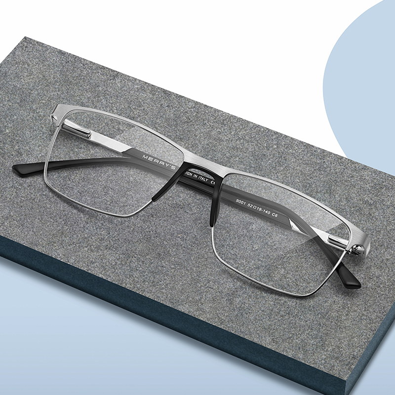 MERRYS дизайн для мужчин титановый сплав очки оправа Мода Мужской квадратный Сверхлегкий глаз близорукость рецепт очки S2001