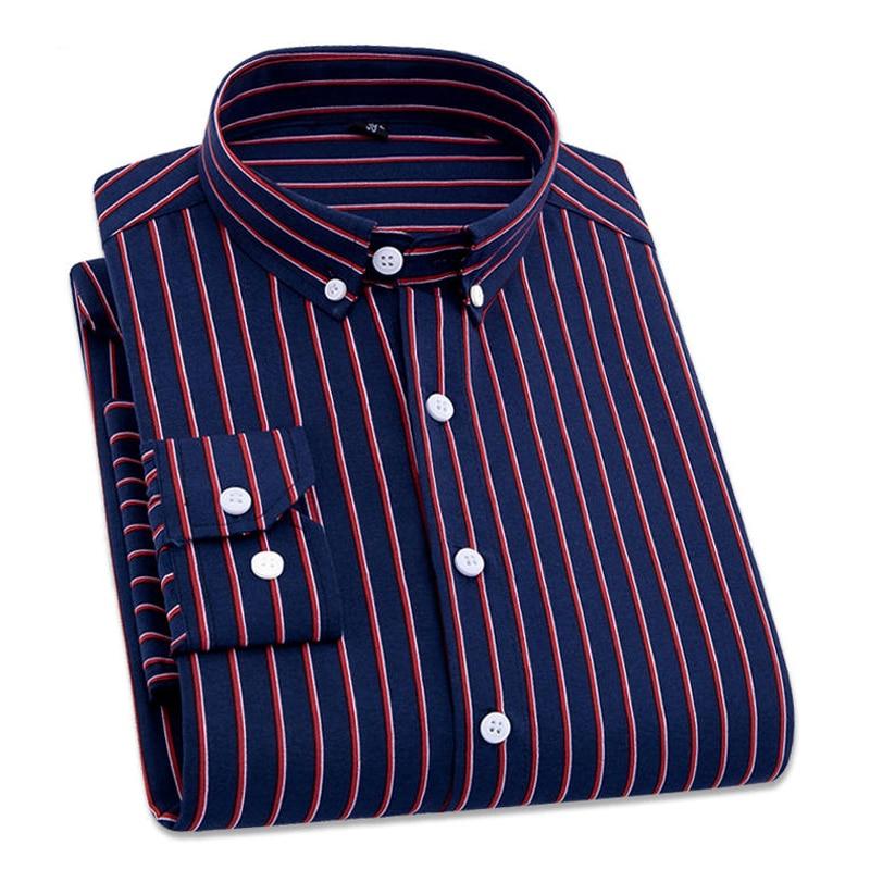 2019 Brand Men Striped Shirts Casual Long Sleeved Mens Shirt 4XL Plus Size Business Man Shirt Male Social Dress Shirts Outwear