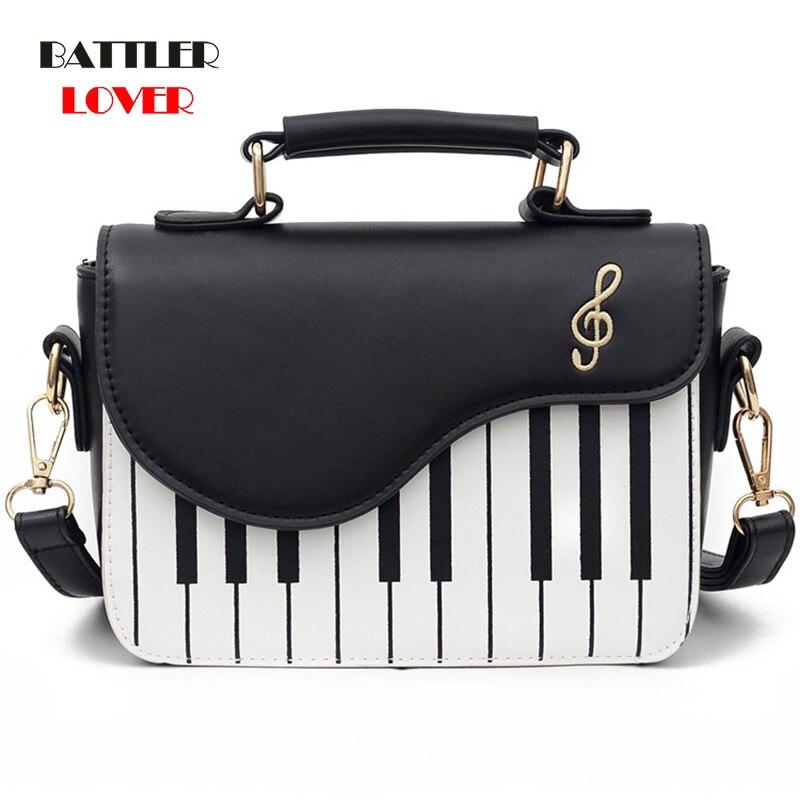 Cute Piano Pattern Fashion PU Leather Casual Ladies Handbag Shoulder Bag Crossbody Messenger Bag Pouch Totes Women