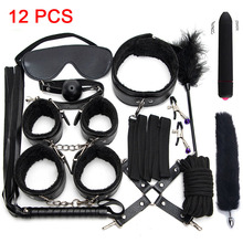 Exotic Accessories Plush Sex Bondage Set Sexy Leather BDSM Kits Handcuffs Sex Games Whip
