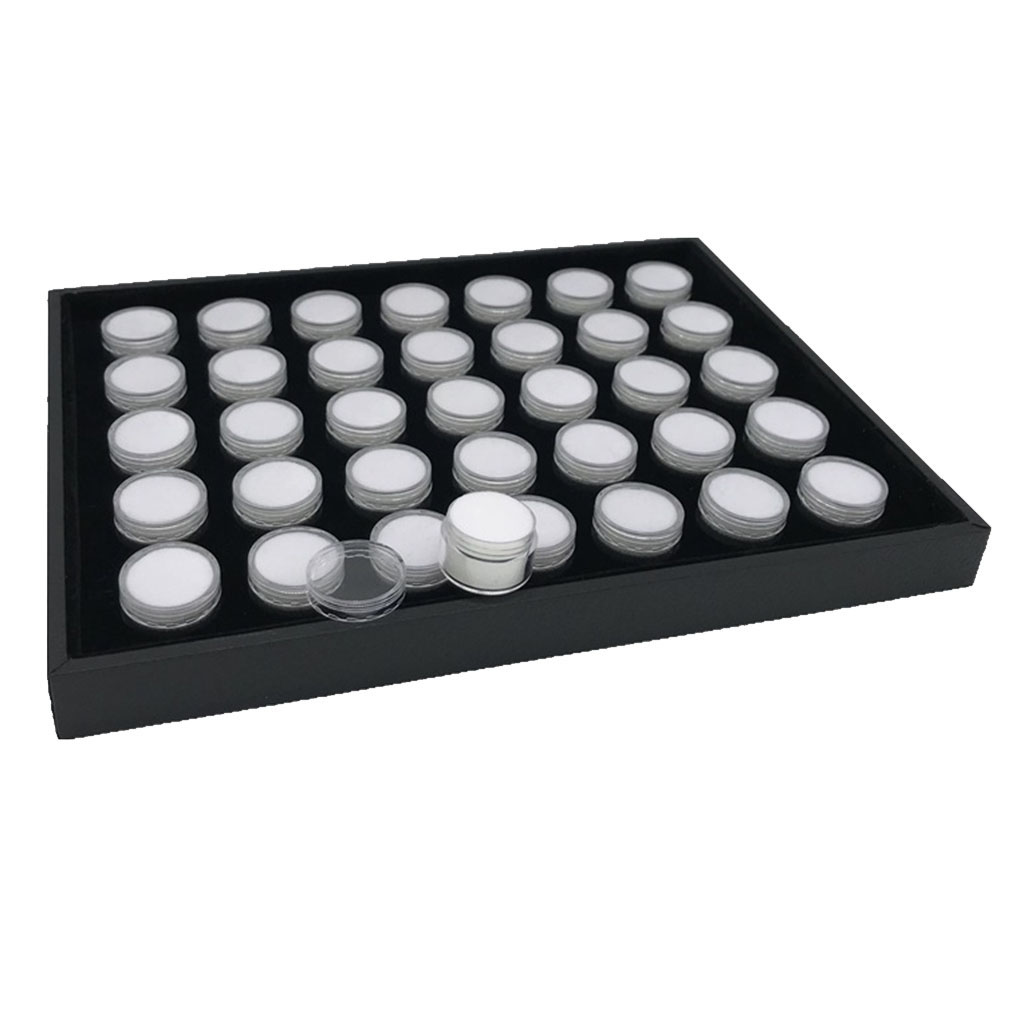 Jewelry display and packing Black. 10 Gemstone display acrylic round gem jars
