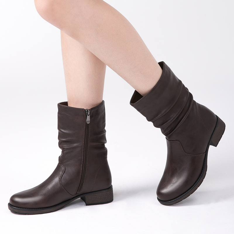 AIMEIGAO High Quality Flat Ankle Boots For Women Retro Style Short Ankle Boots Warm Women Boots Soft Leather Flats Booties