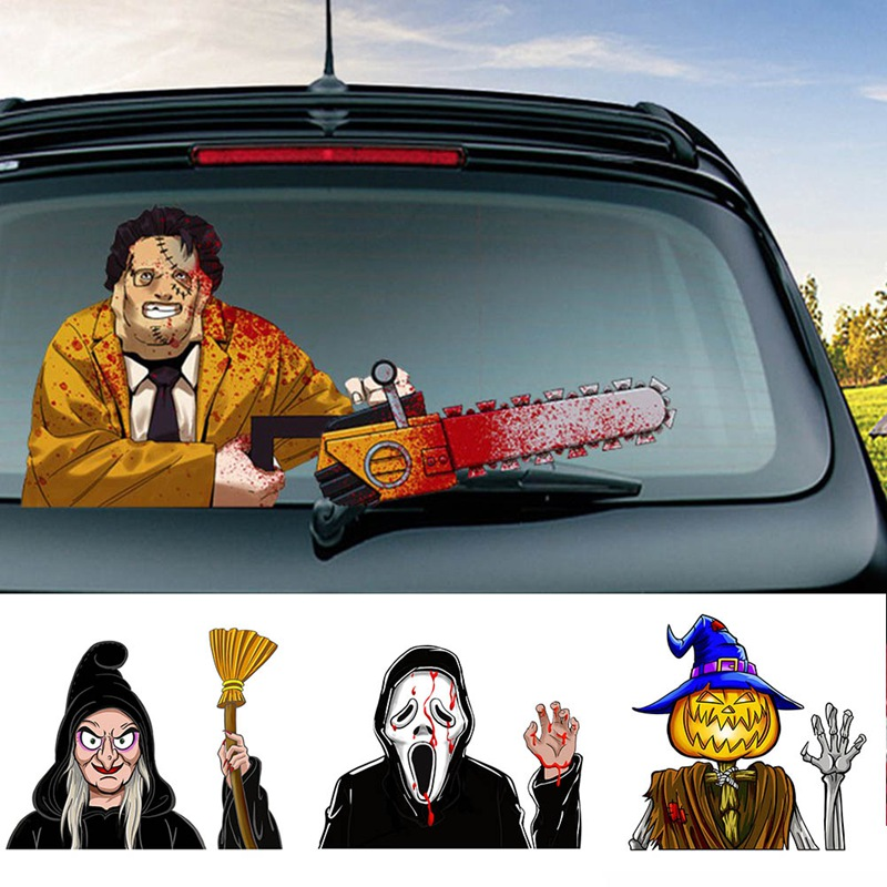 Horror Car Stickers Car Rear Windshield Decals Halloween Decoration Waving Wiper Stickers Car Styling Rear Window Wiper Stickers