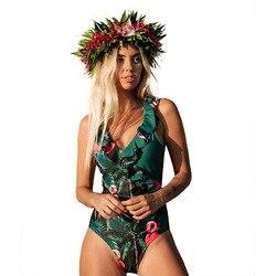 2020 сексуальный глубокий v-образный цельный купальник женский винтажный Ретро купальный костюм с рюшами на плечах купальник с открытой спин...