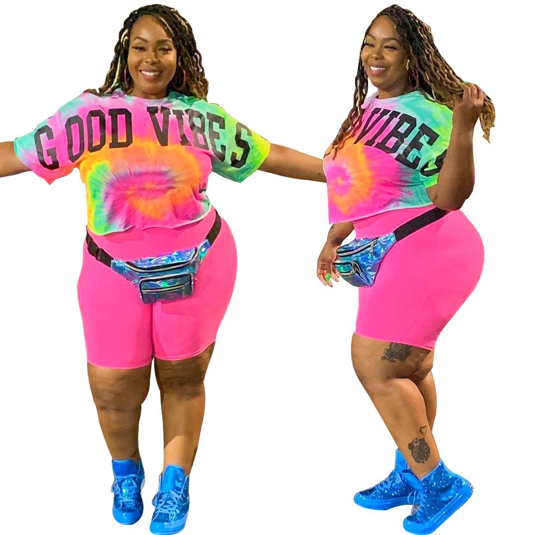 Plus Size Two Piece Outfits for Women Bodycom Short Tie Dye Jogging Suit Set Summer Oversized T Shirts Top