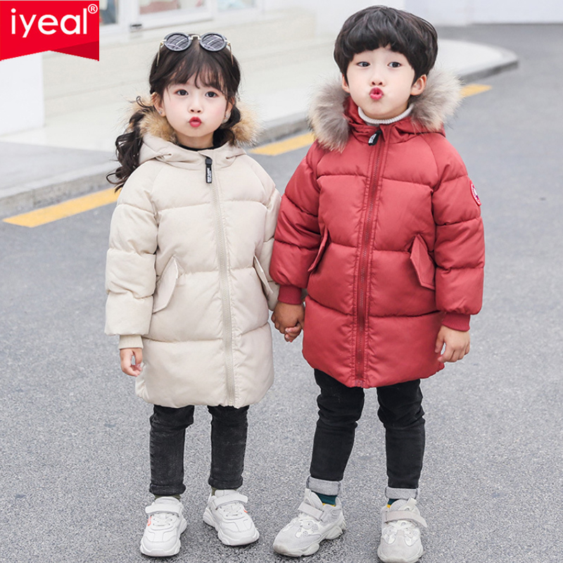 Boys Fur Hooded Coat Kids Black Red Padded Parka Jacket Thick Warm Winter Cotton